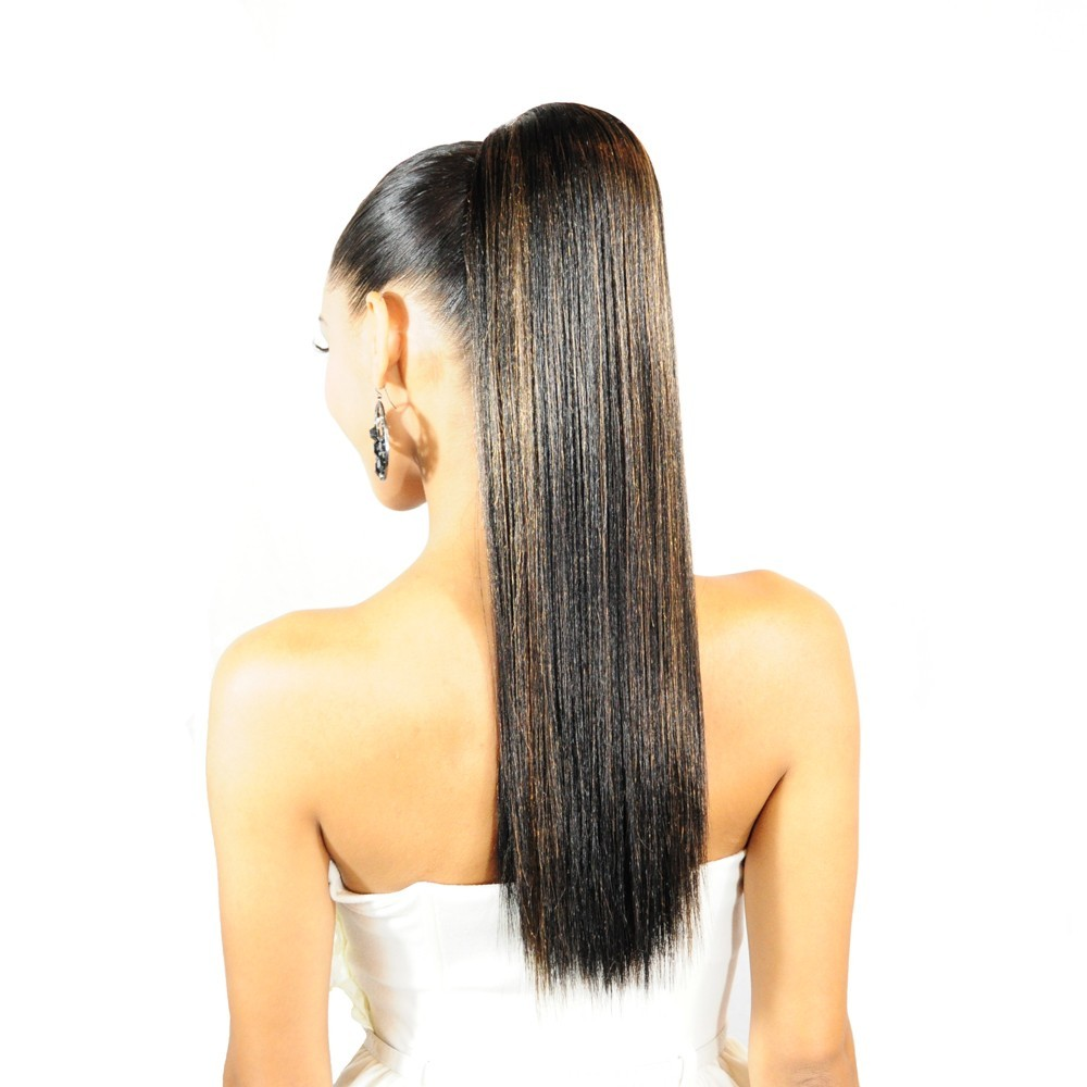 Silky Straight Organics Hair Drawstring Ponytail - MetroFem Organics ...